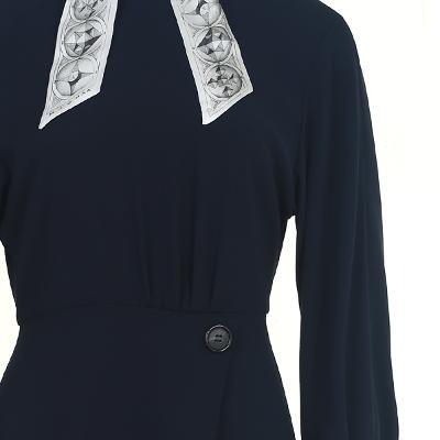 scarf detail wrap dress navy